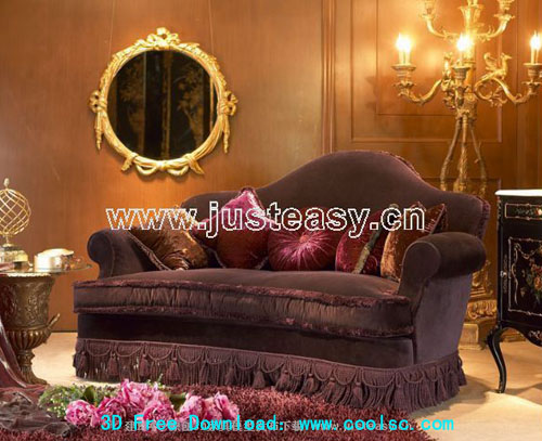 Continental sofa -2, classic sofa, sofa, furniture, 3D model