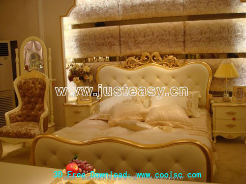 Romantic Paris bed, beds, furniture, bedroom, 3D model