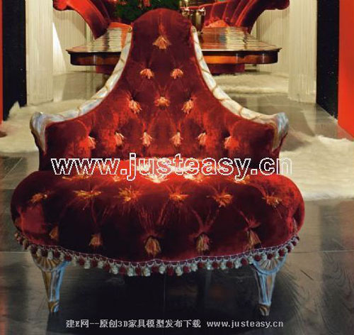 Claes luxurious sofa, sofa, furniture, red sofa, 3D model