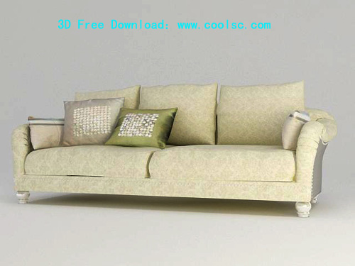 Sofa, Continental, furniture, white sofa, 3D model