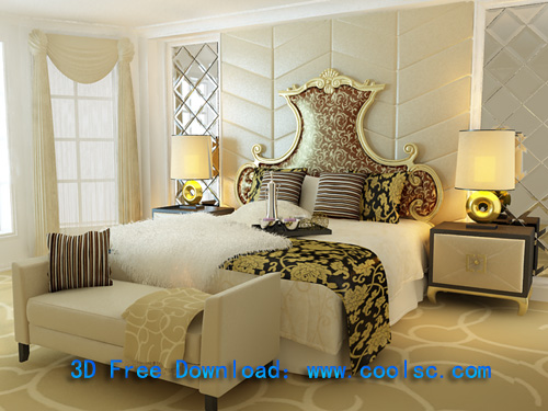 European aristocracy bed, bed, furniture, double bed, model