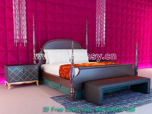 European-style beds, simple furniture, double bed, wooden be
