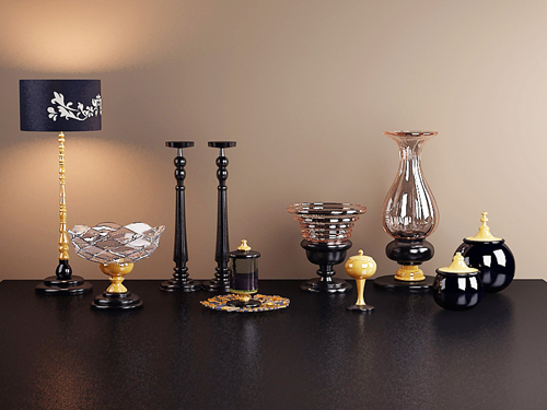 Post-modern Black Tulip St deer art, lamps, cups, tea sets,