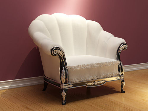 White sofa, European furniture, European style sofa, single