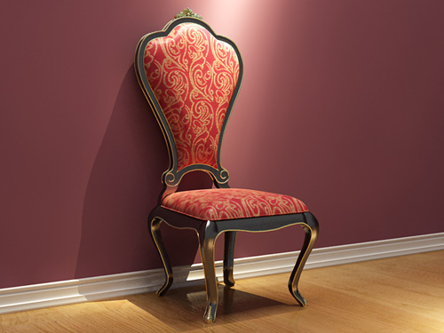 Link toVintage european single chair, solid wood furniture, fabric