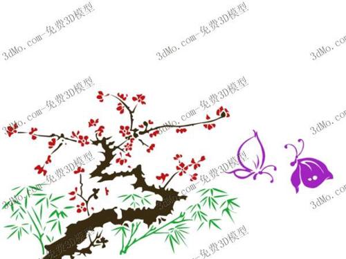 Plum green bamboo, plants, paint, wallpaper, wallpaper, patt