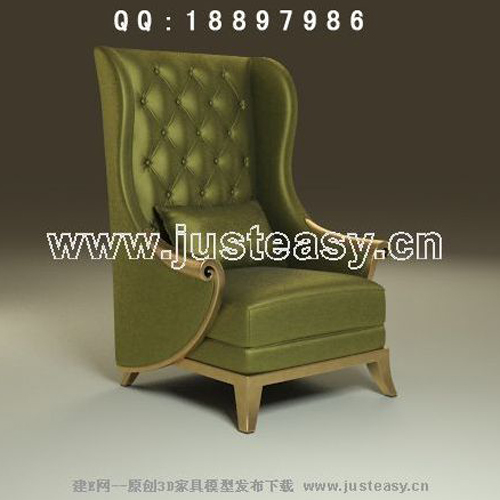 Green high-backed chairs, sofa chairs, fabric, single sofa,
