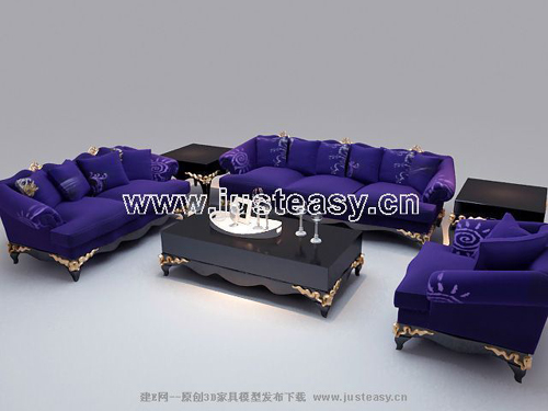 European-style combination of purple sofa, modular furniture