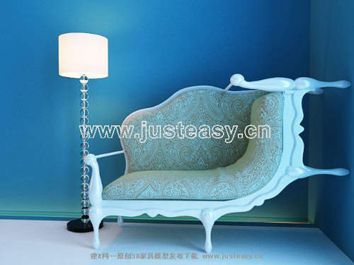 European-style chaise longue, soft fabric sofa, single sofa