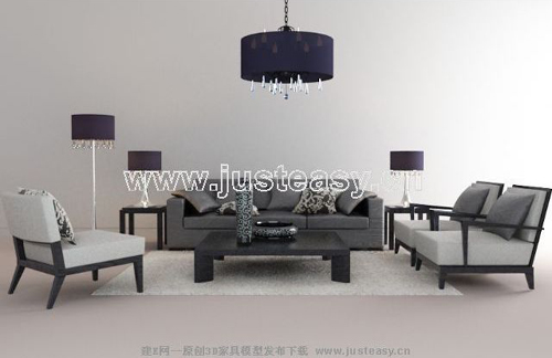 Modern living room furniture, sofa, space model, simple livi