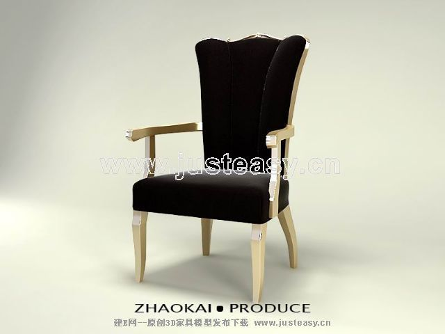 Black wood chair, chair, black cloth art of Europe type sofa