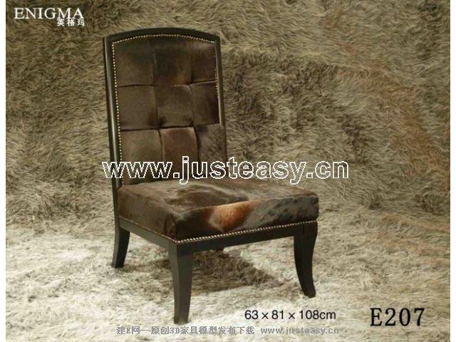 Ou leather chair, chair, European furniture, wooden furnitur