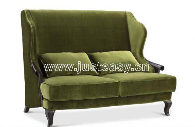 Traditional sofa, armed forces green sofa, cloth skill sofa