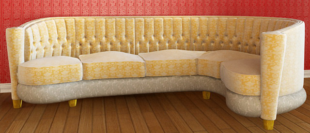 Yellow multi-person sofa, public sofa, cloth skill sofa, so