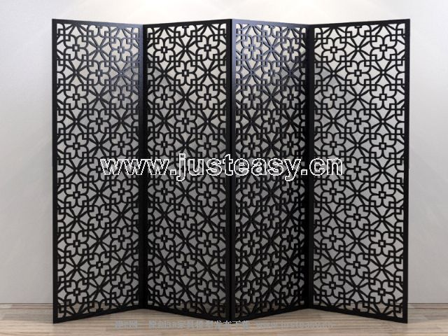Four fold black decorative pattern screen, screen, restore a