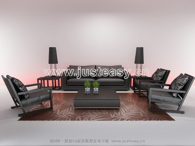 Chinese contemporary sofa combination, modern furniture, fur