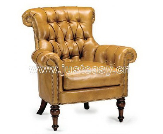 Yellow leather sofa, single chair, single person sofa, leath