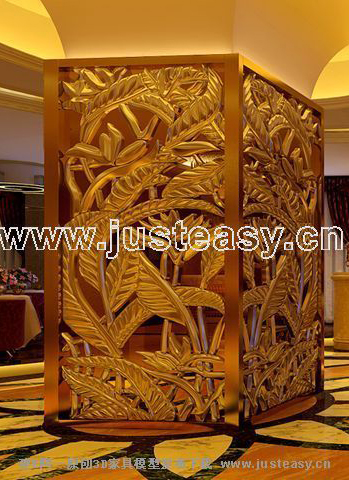 Hotel setting wall, screen, decoration, display, woodcarving