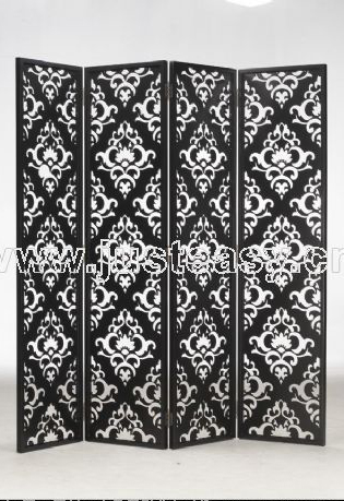 Black and white sculpture four fold screen, screen, Chinese