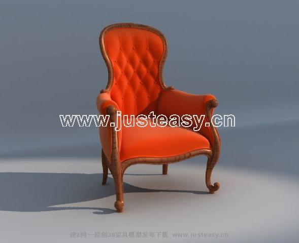 Red European single sofa, single sofa, sofa chairs, simple f