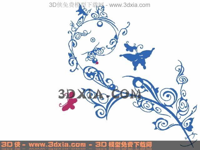 Butterfly with flower wallpaper, wallpaper, wall stickers, d