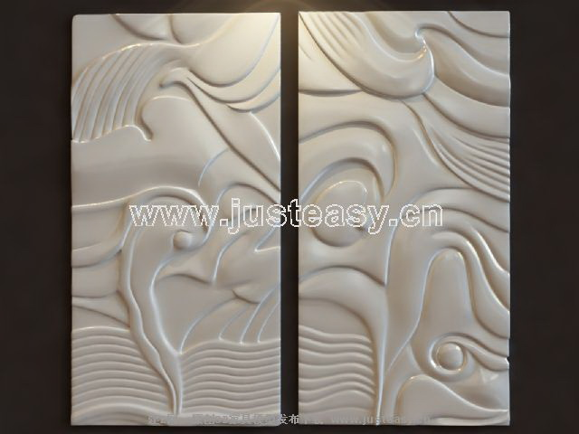 Milky white abstract metope relief, gesso sculpture, anaglyp