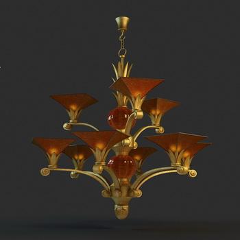 Golden flowers droplight, lamps and lanterns, droplight, hou