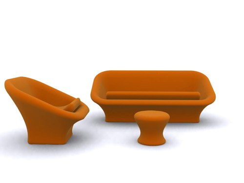 Orange sofa three-piece suit, sofa, many people sofa, furnit