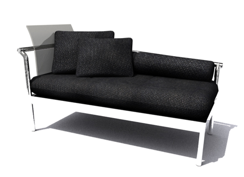 Black contracted sofa, sofa, many people sofa, furniture, cl