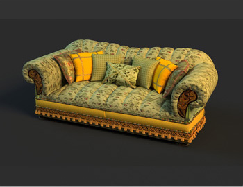 Rural style small calico double sofa, sofa, cloth art sofa,