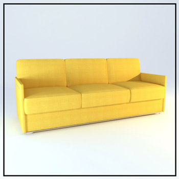 Three soft yellow fabric sofa, sofa, simple furniture, soft
