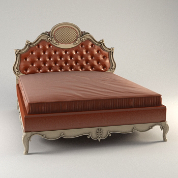 European-style dark red wooden double bed, bed, European fur