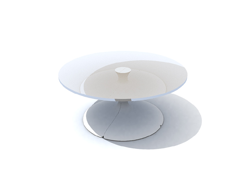 Abstract pure white glass round-table, tables, stylish furni