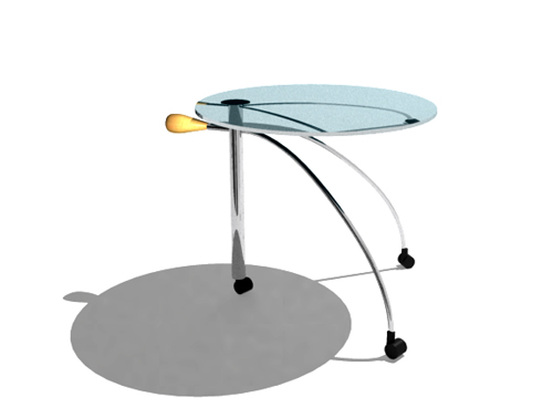 Personality roller-blading circular glass brunet tea table,