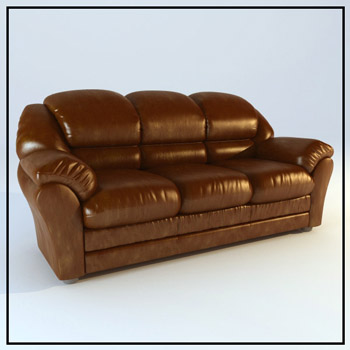 Link toLeather brown three people single person sofa, european furn