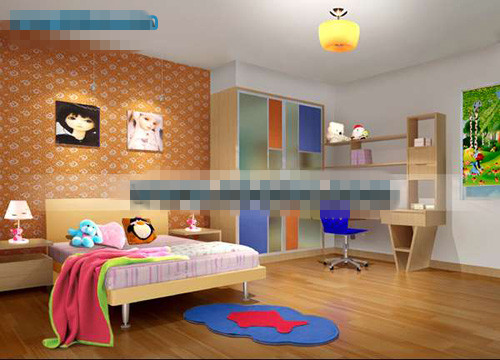 Orange lovely children's bedroom