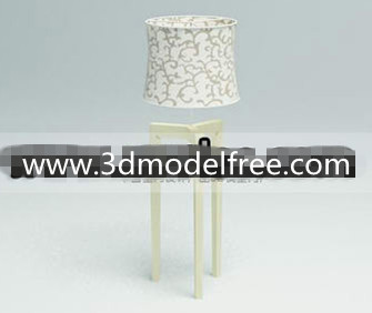 Fabric flower compiled wooden bottom table lamp