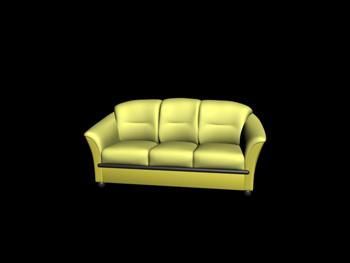 European-style three seats dark yellow sofa