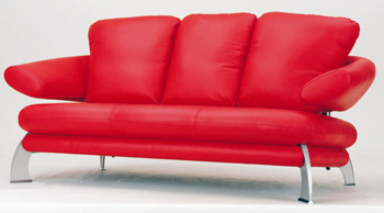 European-style modern red three seats sofa