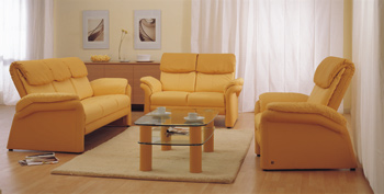 European-style yellow sofa and coffee table combination