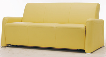 European-style three seats yellow sofa