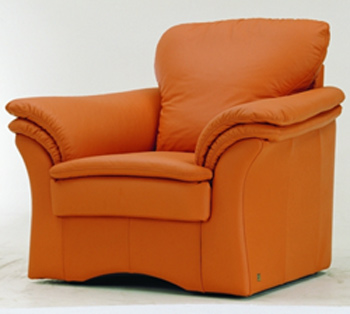 Modern orange single leather sofa
