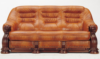Modern Brown three seats leather sofa