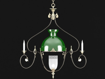 European green shade simple chandelier