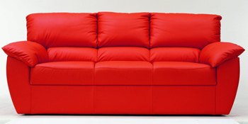 Modern red three seats fabric sofa
