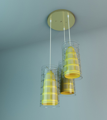 Yellow stripes exquisite chandelier