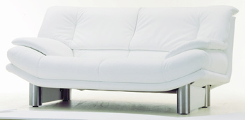 Modern White double seats fabric sofa