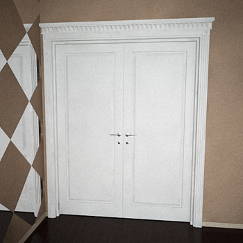 Modern white double doors