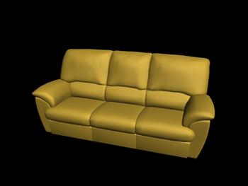 European-style yellow three seats leather sofa