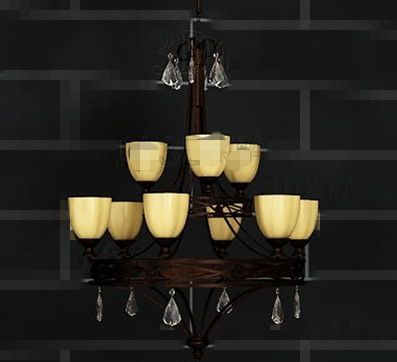 Retro metal frame yellow chandelier